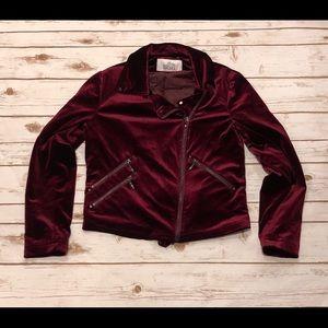 Belle Badgley Mischka Velvet Moto Jacket Size M